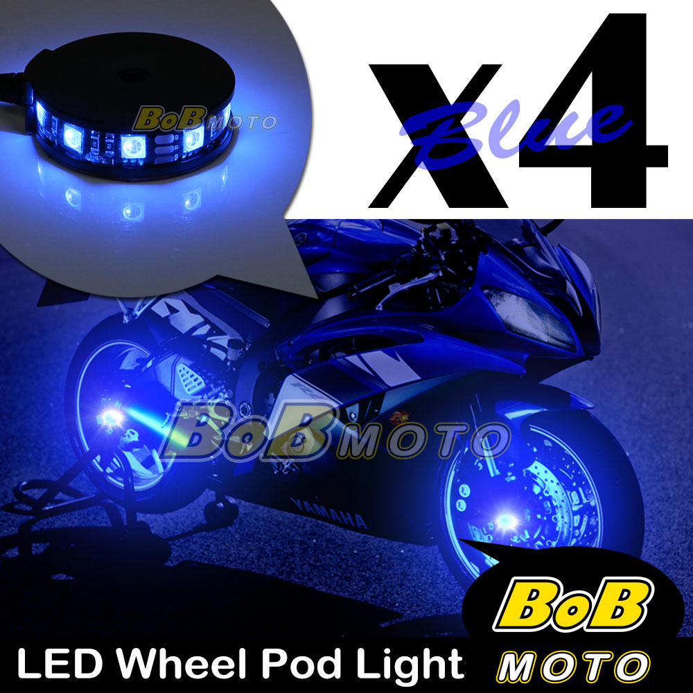Blue-Motorcycle-360-Cycle-LED-Wheel-Light-Custom-Rim-Glow-Pod-x4-For-Kawsaki