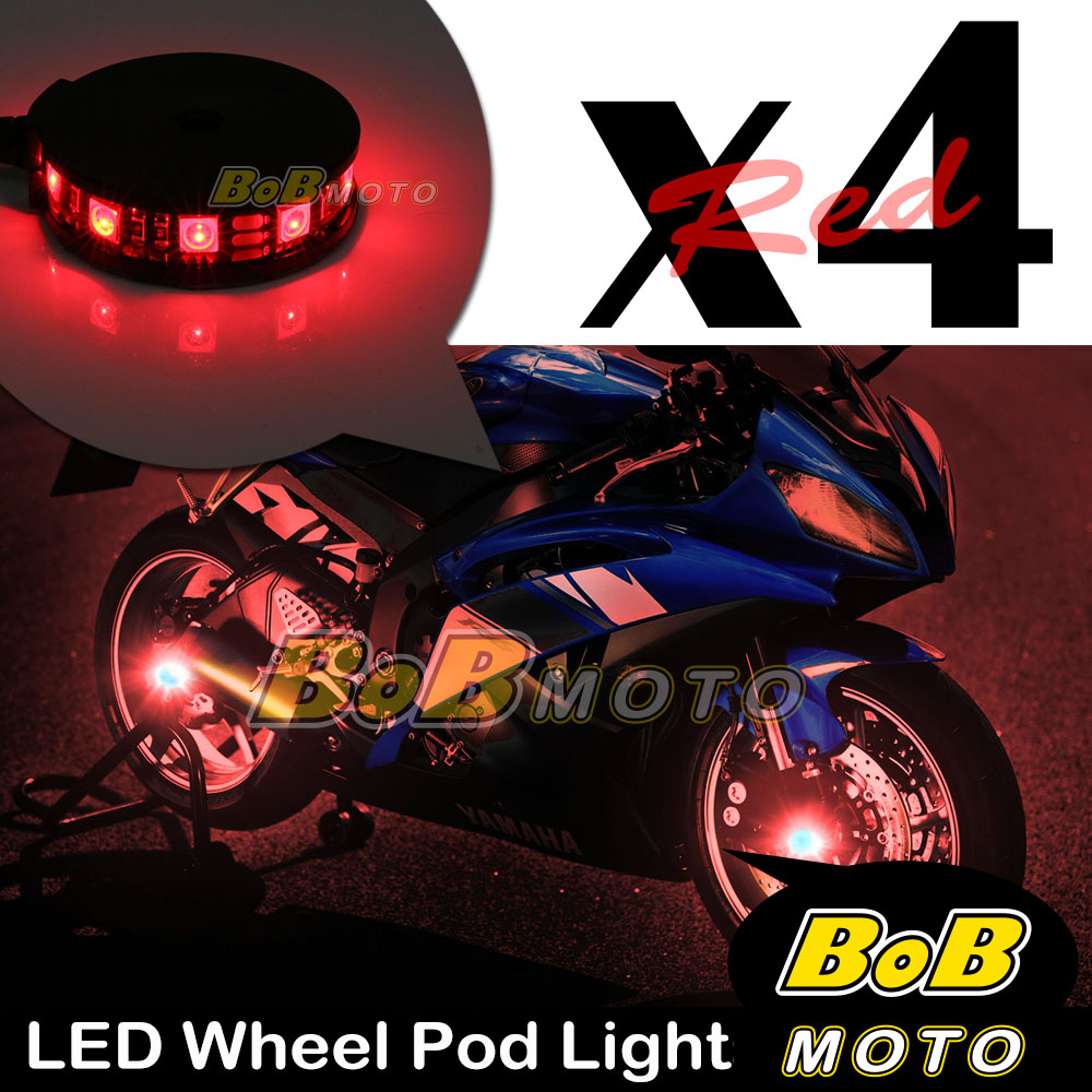 Red-Motorcycle-360-Cycle-LED-Wheel-Light-Custom-Rim-Glow-Pod-x4-For-Ducati